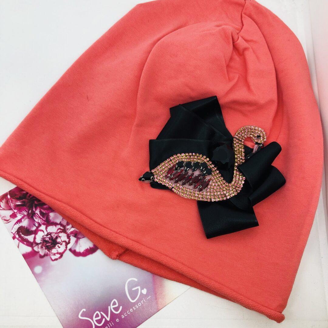cappello corallo con fenicottero