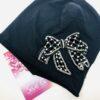 cappello nero cin cotone con fiocco nero e perle