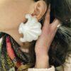 orecchini a conchiglia in resina bianca metallizzata