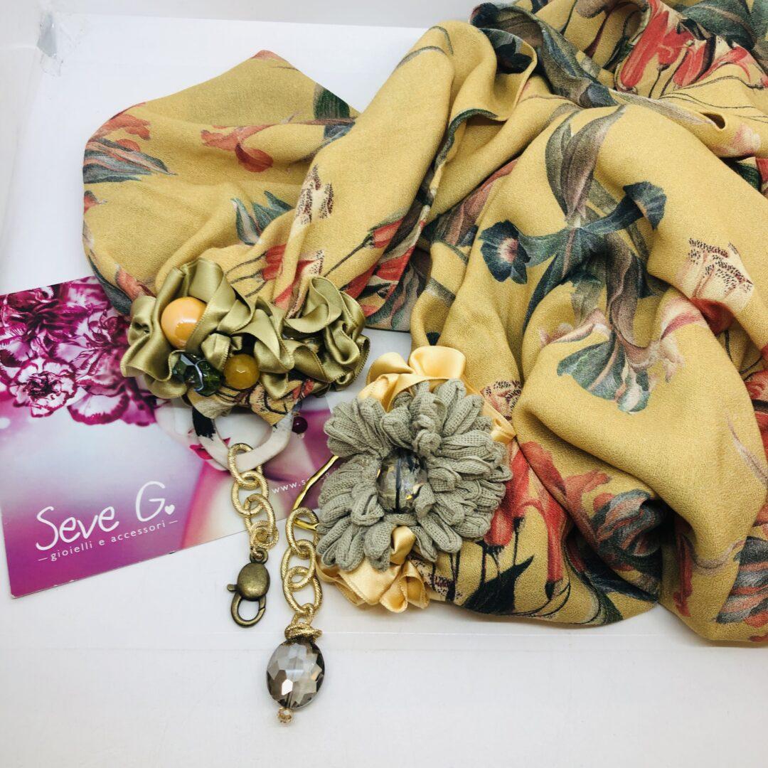 sciarpa gioiello fantasia tropicale