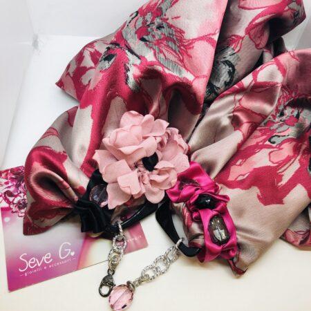 sciarpa gioiello, raso , rosa, fuxsia